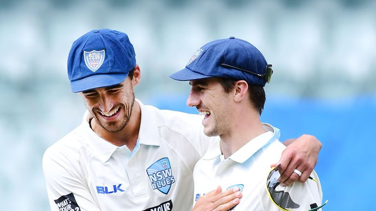 Cummins (R) is set to line-up in Australia's attack alongside New South Wales team-mate Mitchell Starc (L)