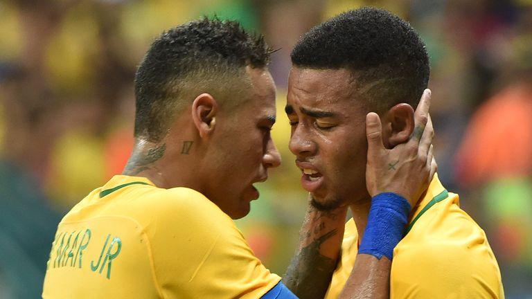 Jesus (right) with Brazilian team-mate Neymar