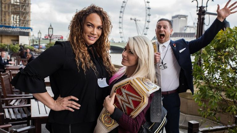 WWE superstars Nia Jax, Alexa Bliss and The Miz enjoy the sights before Friday's live event at Wembley Arena