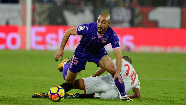 Nordin Amrabat, on loan from Watford, was sent off for Leganes