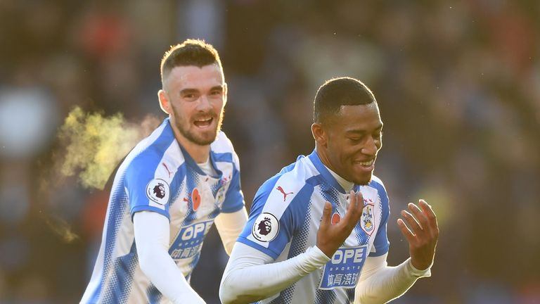Rajiv van La Parra is congratulated after scoring the only goal of the game