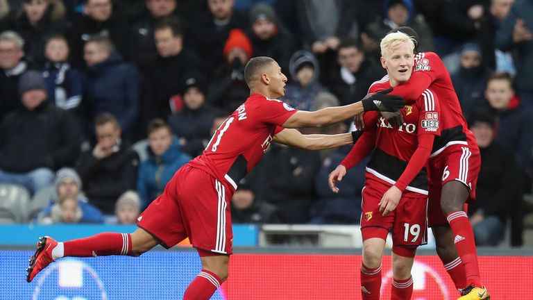 Will Hughes celebrates after giving Watford the lead at St James' Park