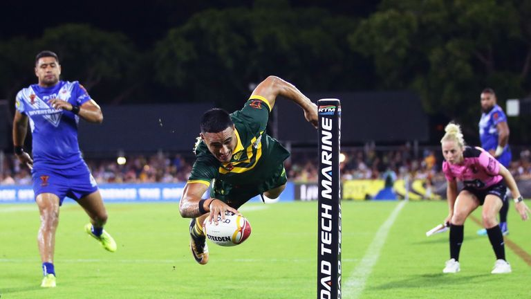 It was a game to remember for Valentine Holmes who bagged five tries for the Kangaroos as they progressed to the World Cup semi-finals