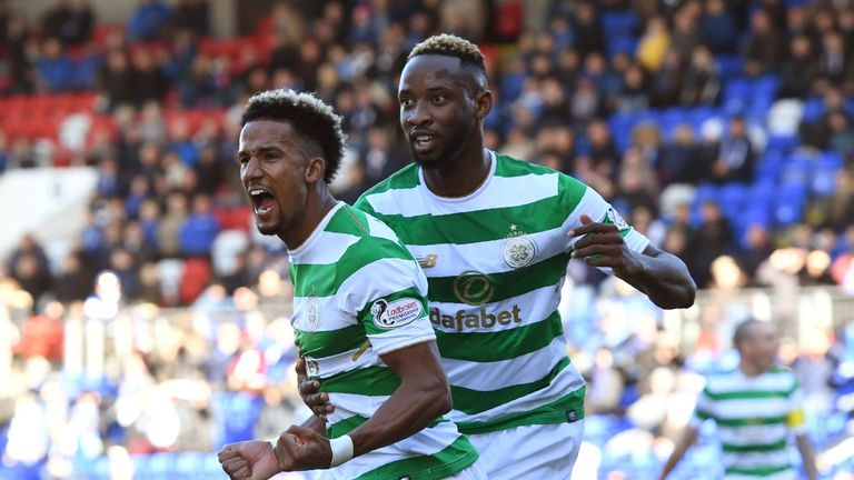 Celtic's Scott Sinclair celebrates with Moussa Dembele (right)