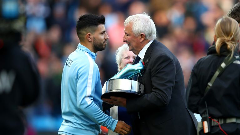 Aguero was presented with the an award for becoming Manchester City's all time top goal soccer