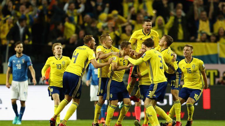 Sweden players celebrate Jakob Johansson's goal