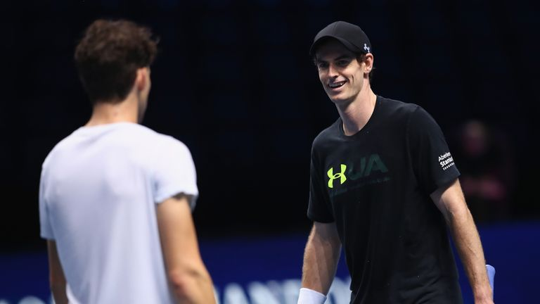Murray trained with Dominic Thiem at the O2 prior to the start of the ATP Finals
