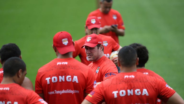 Kristian Woolf puts his Tonga team through their paces at Mt Smart Training Field