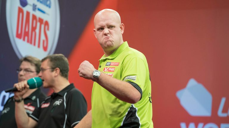 Michael van Gerwen shows his delight with his routine victory over Max Hopp (Picture: Steve Welsh/PDC)