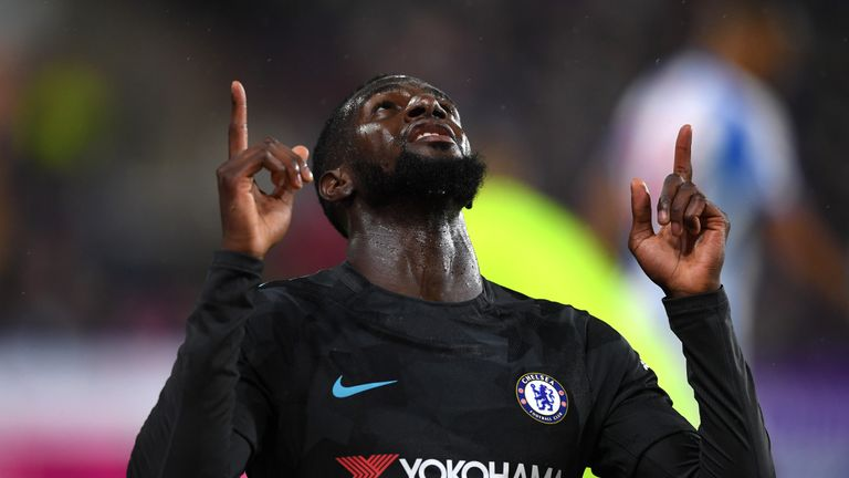Tiemoue Bakayoko celebrates after giving Chelsea the lead