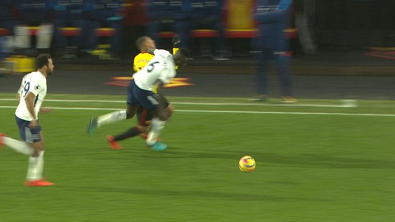 Davinson Sanchez sees red at Watford