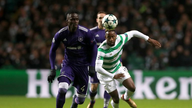 Mbodji Kara and Moussa Dembele in action during Celtic's clash with Anderlecht