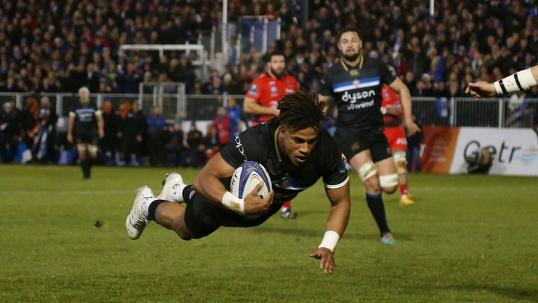 Anthony Watson scores his first try for Bath in their Champions Cup clash with Toulon