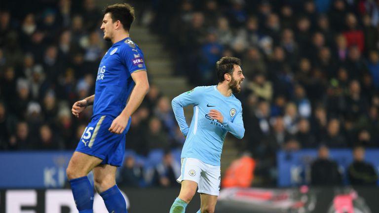 Bernardo Silva celebrates after opening the scoring for Man City