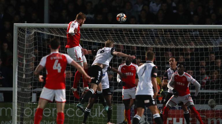 Cian Bulger rises highest to score the opening goal