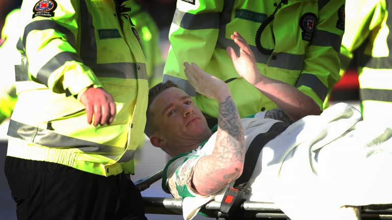 Jonny Hayes was stretchered off during the 2-0 Boxing Day success over Dundee