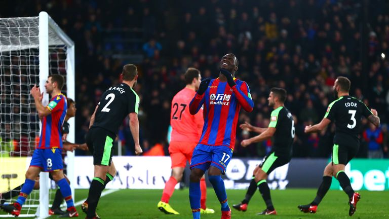 Christian Benteke holds his head to his hands after missing a penalty in the 2-2 draw against Bournemouth