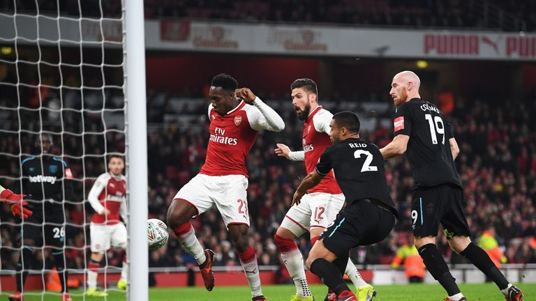 Danny Welbeck pounced to put Arsenal ahead after West Ham failed to clear a cross
