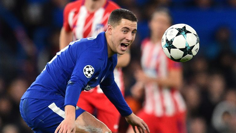 Eden Hazard and Chelsea could face Barcelona or Paris Saint-Germain in the last 16 of the Champions League