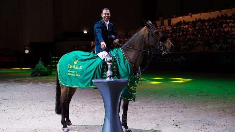 Kent Farrington, riding Gazelle, celebrates his victory in the Rolex Grand Prix in Geneva in December