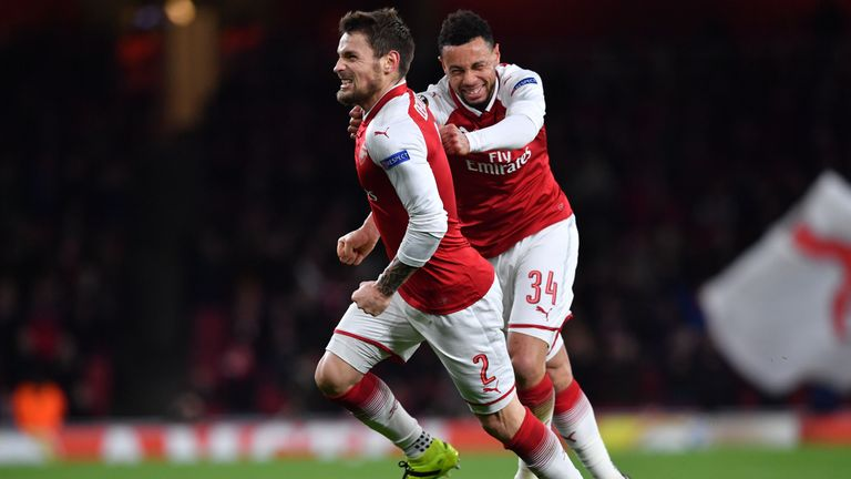 Mathieu Debuchy celebrates his opening goal at the Emirates Stadium