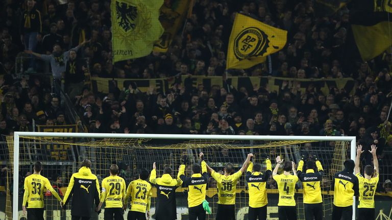 Dortmund celebrate in front of their supporters after the securing a second win in a row