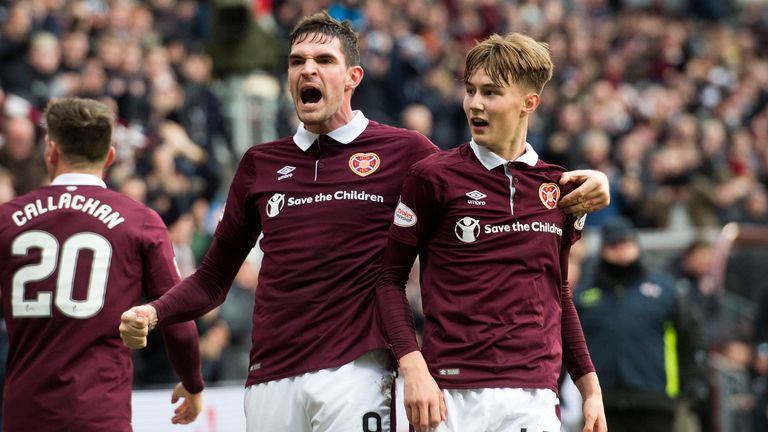 Hearts' Harry Cochrane (right) celebrates his goal with Kyle Lafferty