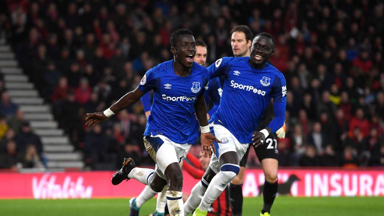 Idrissa Gueye celebrates scoring against Bournemouth