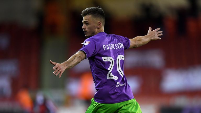 Paterson celebrates opening the scoring for Bristol City at Sheffield United