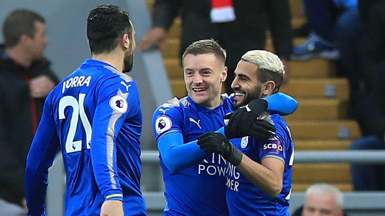 Jamie Vardy celebrates his goal with team-mates Riyad Mahrez and Vicente Iborra