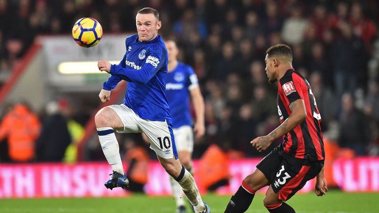 Ibe closes down Everton's Wayne Rooney during Bournemouth's 2-1 win at the Vitality Stadium