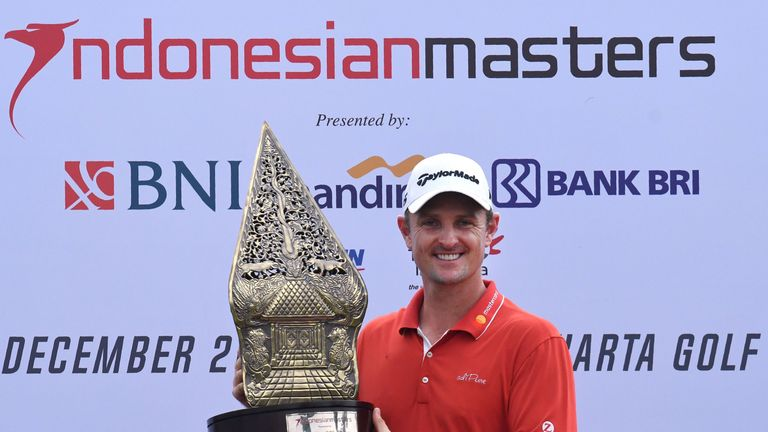 Justin Rose with the Indonesian Masters trophy