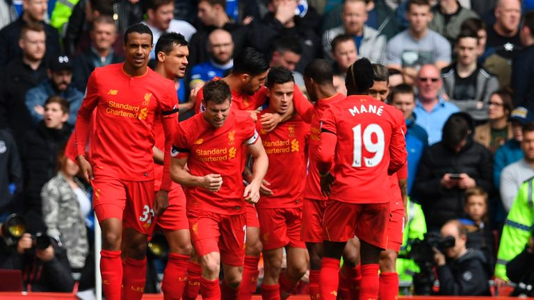 Liverpool beat Everton 3-1 in the Merseyside derby at Anfield last season
