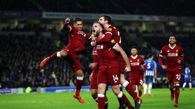 Jordan Henderson of Liverpool celebrates after Philippe Coutinho's goal