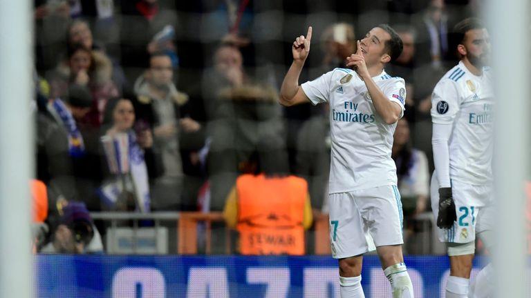 Lucas Vazquez (L) celebrates after scoring Real Madrid's winner