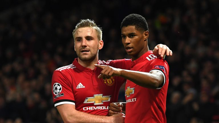 Marcus Rashford of Manchester United celebrates with Luke Shaw after scoring his side's second goal