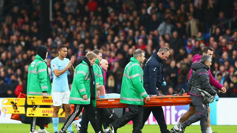Kevin De Bruyne was stretchered off against Crystal Palace