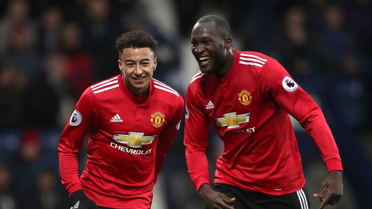 Manchester United's Jesse Lingard (left) celebrates after scoring his side's second goal