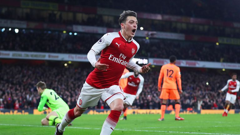 Mesut Ozil was on target in a 3-3 draw between the teams in the same fixture last season