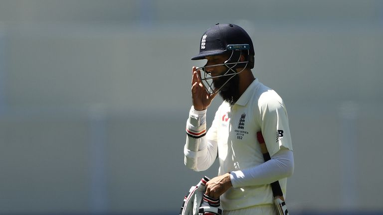 Ali looks dejected after being dismissed by Nathan Lyon on day five in Adelaide