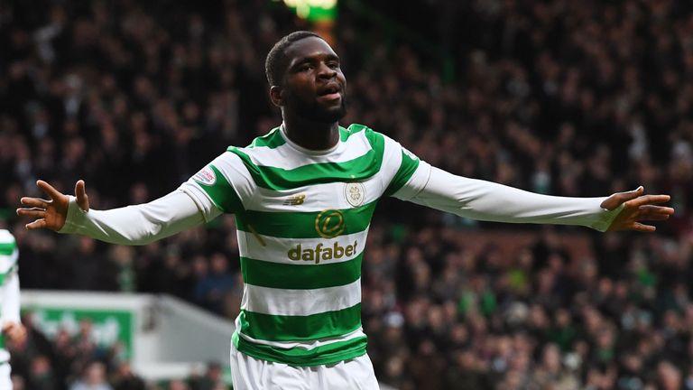 Odsonne Edouard celebrates his opener for Celtic against Motherwell