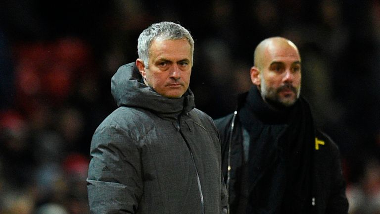 City boss Guardiola (right) and his United counterpart Mourinho