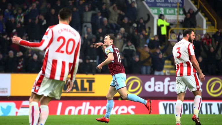 Ashley Barnes celebrates scoring the winning goal