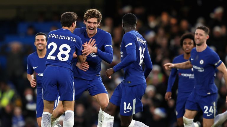 Marcos Alonso celebrates with team-mates after scoring against Southampton