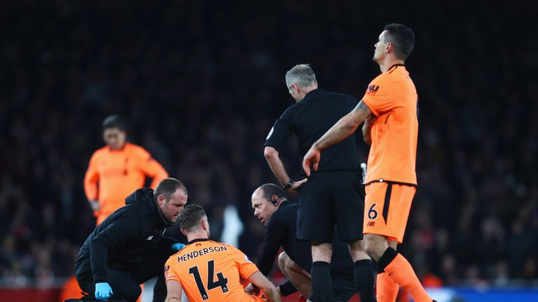 Jordan Henderson was substituted after 13 minutes against Arsenal