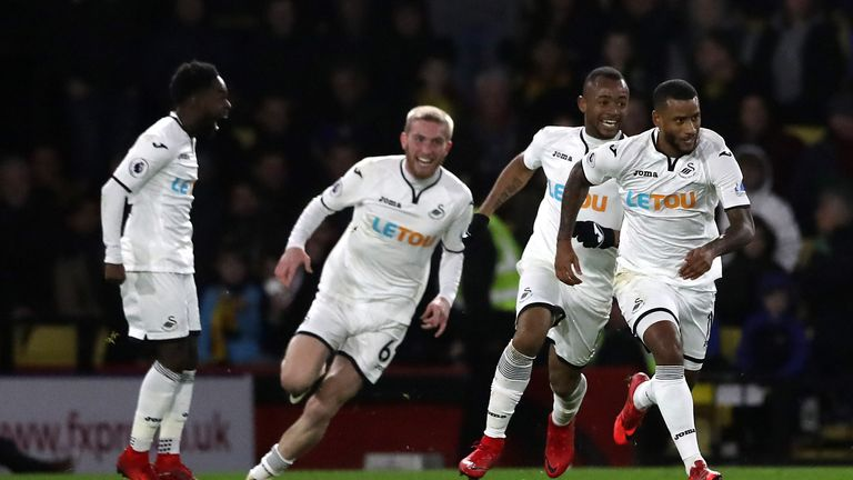Luciano Narsingh celebrates after scoring a 90th minute winner against Watford