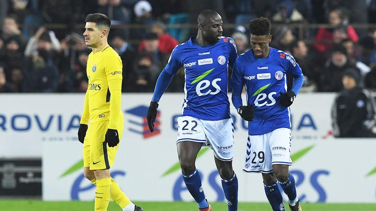 Nuno Da Costa (right) helped Strasbourg beat Paris Saint-Germain