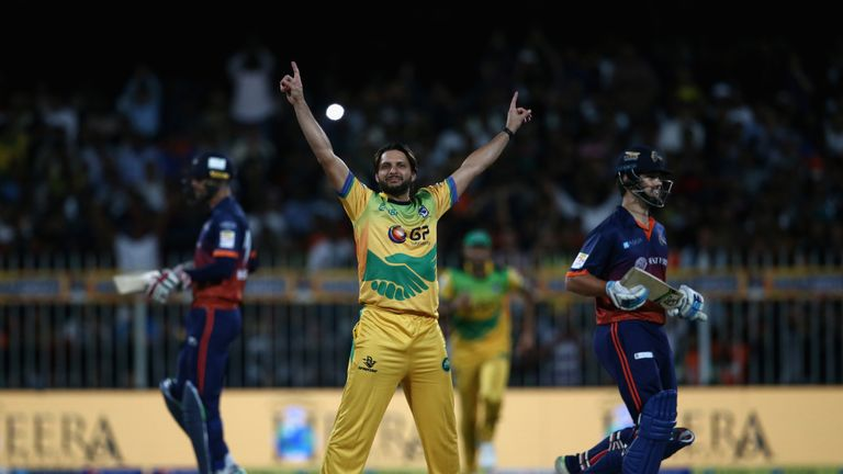 Shahid Afridi celebrates in the T10 League while playing for Pakhtoons