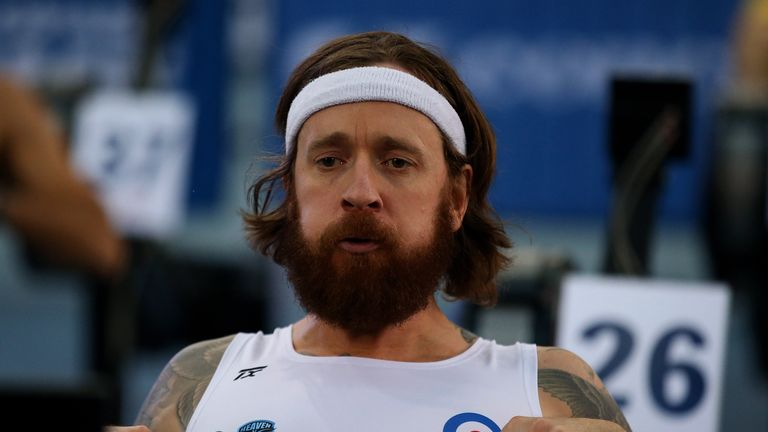 Great Britain's Bradley Wiggins in action at the British Indoor Rowing Championships at Lee Valley Velopark, London