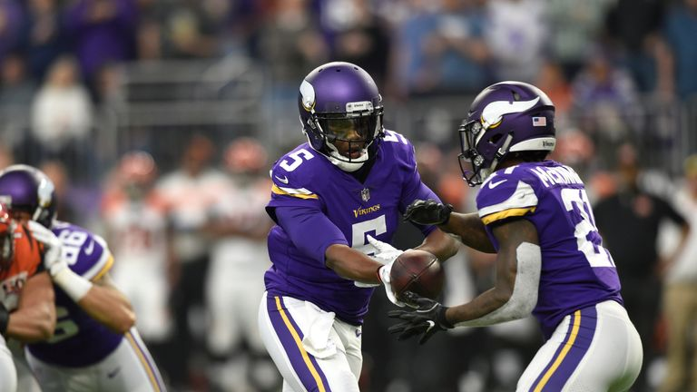 Teddy Bridgewater was back on the field for the Vikings on Sunday late on against the Bengals